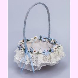 Cesta Bebé con Flores Azules