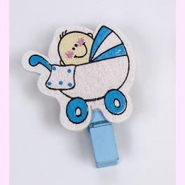 Pinzas Bebé Cochecito Azul