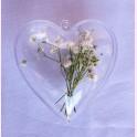 Corazón Transparente Caja+Colgador 8 cm.