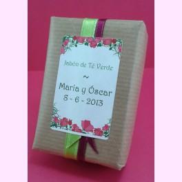 Personalización jabón artesano papel kraft
