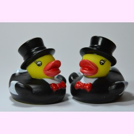"Pareja de Patitos de Goma ""Groom and Groom"" Mini"